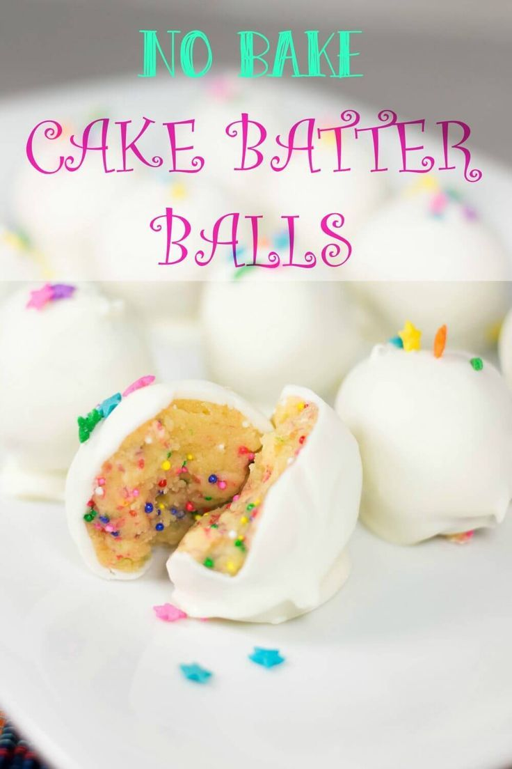 NO BAKE CAKE BATER BALLS - This no bake cake batter balls recipe is fun, easy to make, and everyone always loves these! They taste like little bites of birthday cake!  #cake #desserts #cakeballs