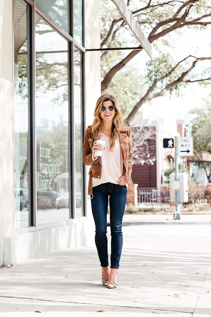 brighton keller pink surplice blouse, blank nyc suede moto jacket, paige jeans, dee keller portia pumps, 5 steps for a happy valentines day
