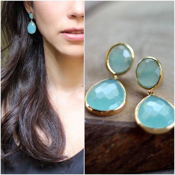 Aqua Blue Chalcedony Earrings - Bezel Set....LIMITED EDITION