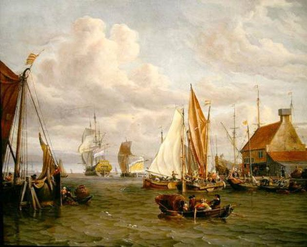 Dutch Men of War and Fishing Boats in a Port