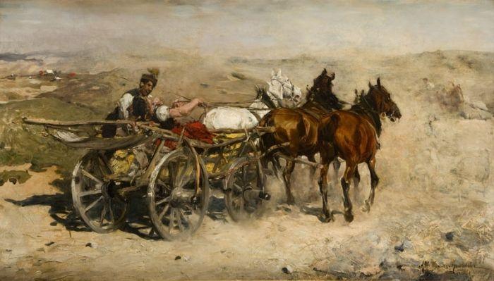 Alfred  Wierusz-Kowalski - Zaprzęg na piaszczystej drodze
