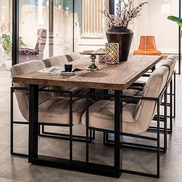 Raffles Reclaimed Wood Industrial Dining Table Industrial Dining