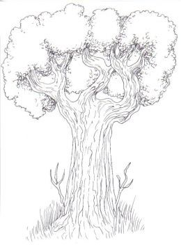 Inked with a fine black gel pen, see how some of the trees texture looks like it should, leaves and tree bark.