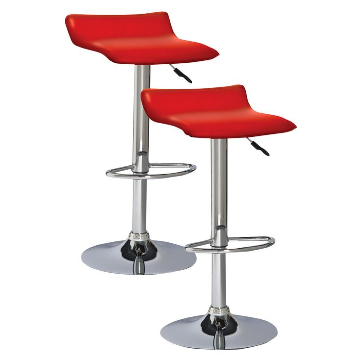 Adjustable Height Swivel Bar Stool (Set Of 2) Red