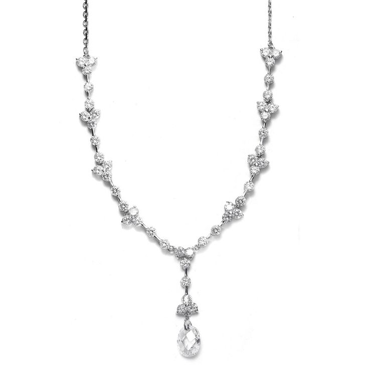 CZ bridal necklace with a faceted oval  crystal drop makes a glamorous yet sophisticated statement for your wedding.