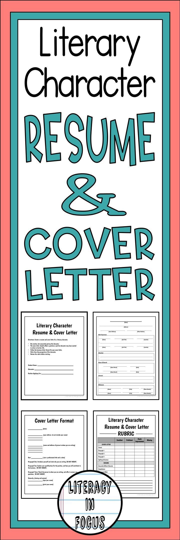 Literary character resume and cover letter.  Create a resume and cover letter for any literary character! #resume #coverletter