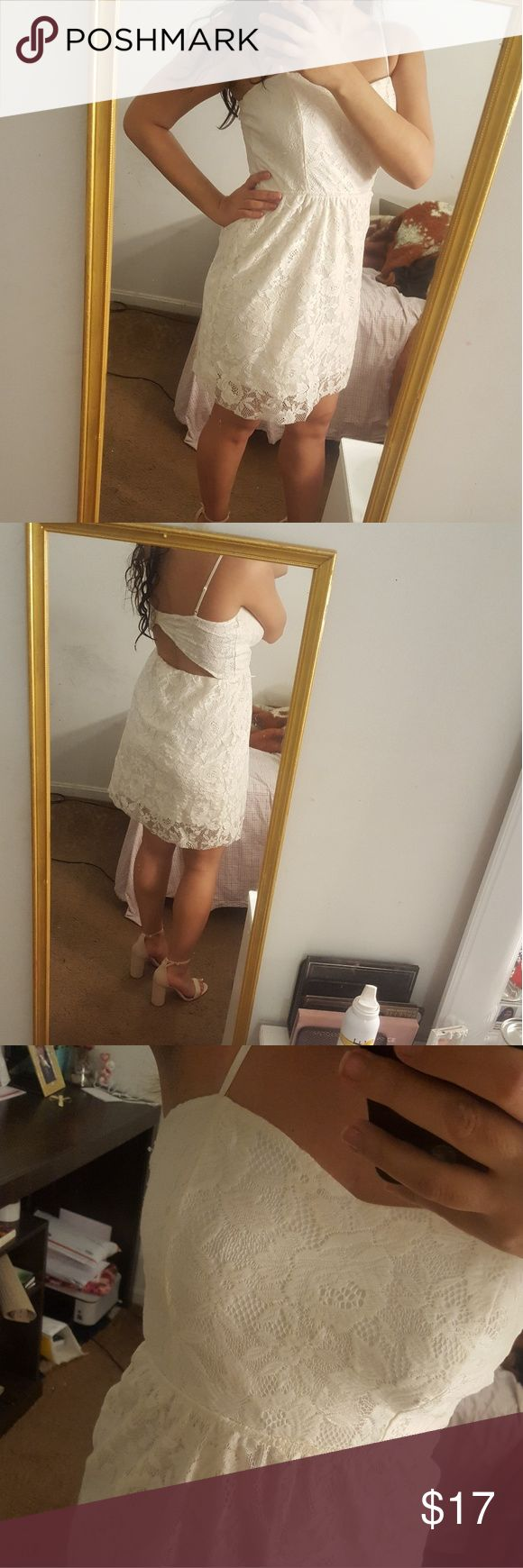 BONGO off white lace dress Great for the summer time. Honestly this used to be a maxi dress but I cut it short because it felt like I'm wearing a table cloth. I think it looks better short. Only worn once and in good condition BONGO Dresses Mini