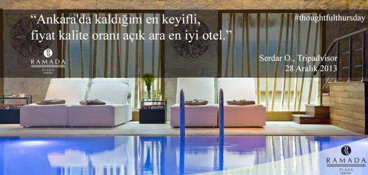 """""""Ankara'da kaldığım en keyifli, fiyat kalite oranı açık ara en iyi otel"""" Serdar O, Tripadvisor, 28 Aralık 2013 #thoughtfulthursday"""