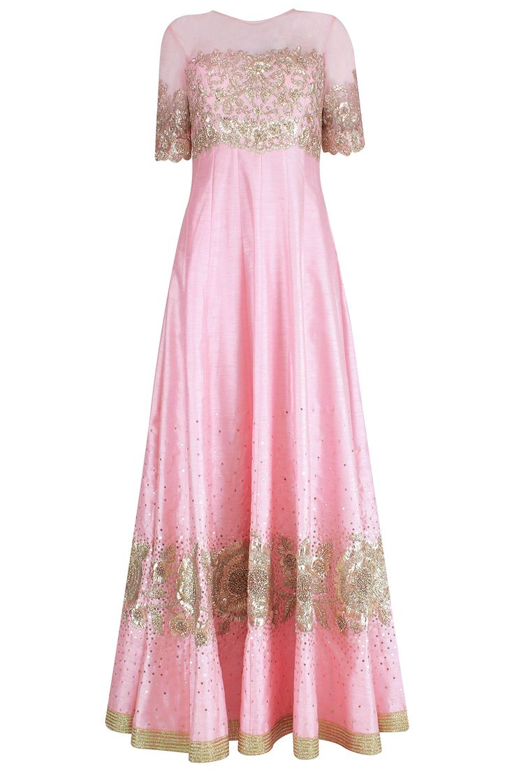 Pink floral embroidered anarkali set with shaded dupatta available only at Pernia's Pop Up Shop.