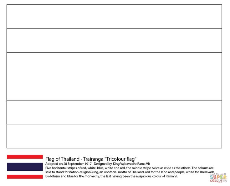 Flag of Thailand coloring page from Asian flags category. Select from 29189 printable crafts of cartoons, nature, animals, Bible and many more.