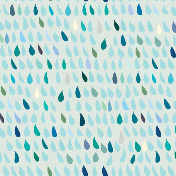 Alessandra Spada, Rain, aqua blue azul green, fabric wallpaper on demand