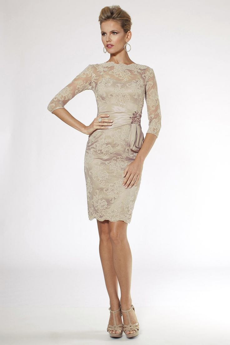 Vince Camuto Three-Quarter-Sleeve Lace Sheath Dress | macys.com ...