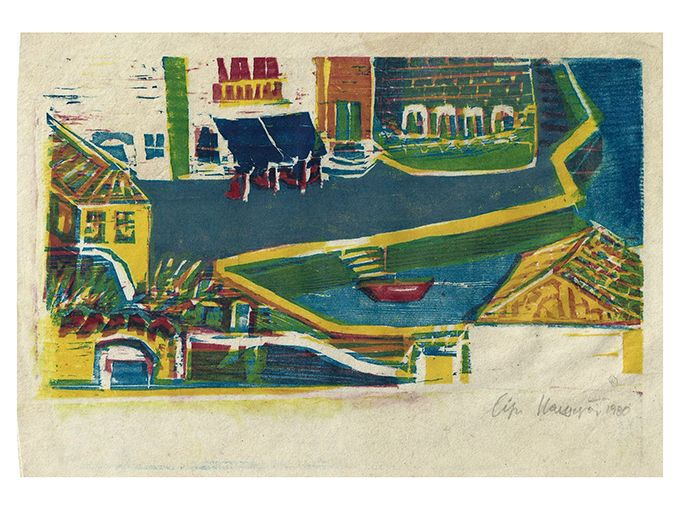 Lizzie Calligas-The Old Port- woodcut-1980