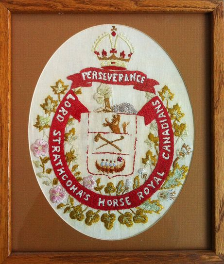 This needlework of the Lord Strathcona's Horse regimental crest was done by my grandfather Charles Light of Battleford, Saskatchewan, as he lay in an English hospital recovering from the serious wounds he received in battle on April 1, 1918.