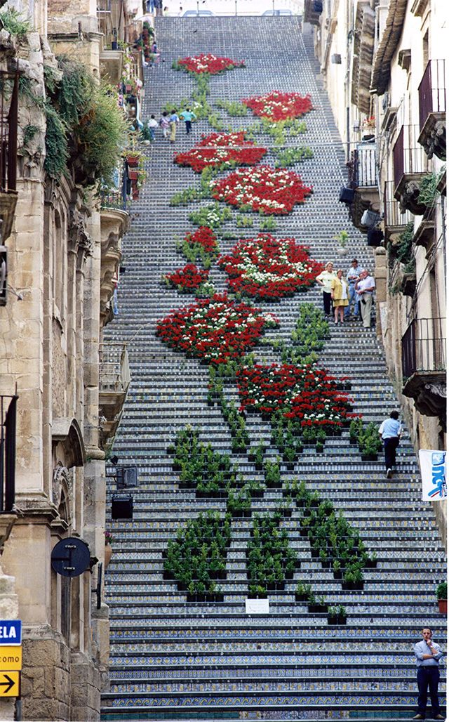 "Flowers and plants create this ""embroidered"" pattern on steps in Sicily for the la Scala flower festival."