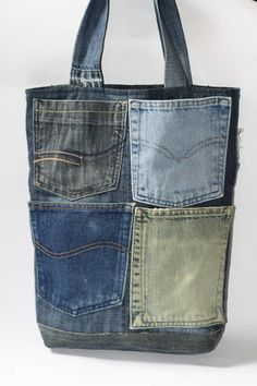 Recycled denim bag tote bag for daily use. This denim bag is designed out of the…