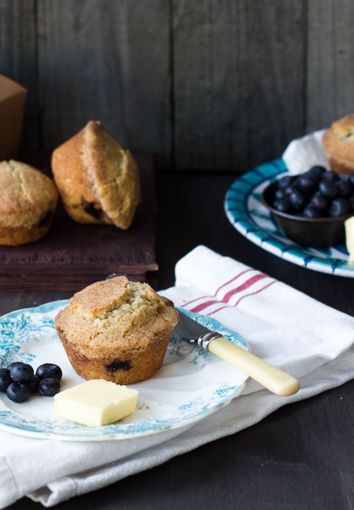 Snickerdoodle Cookie Topped Blueberry Doughnut Muffins