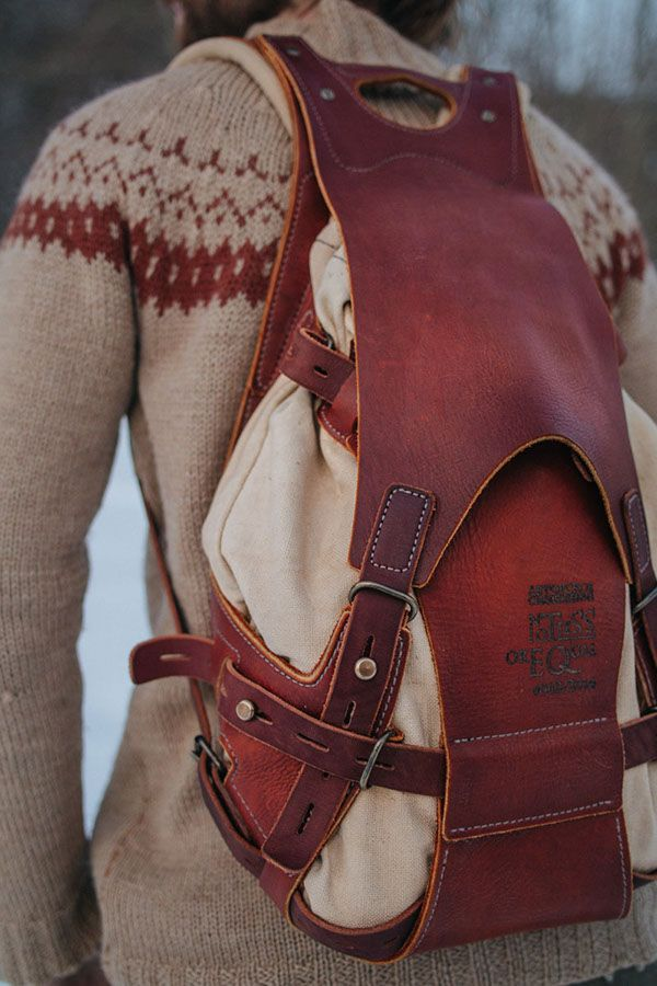 #060 bacpack, leather and canvas on Behance