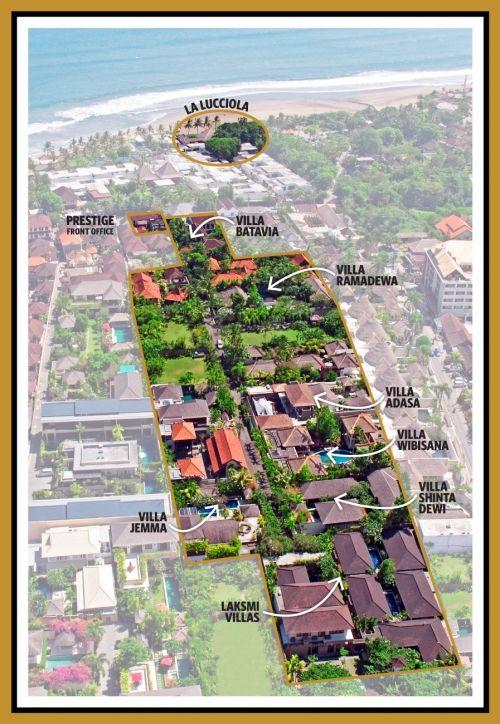 http://prestigebalivillas.com/bali_villas/lakshmi_villas/5/photo/ Lakshmi Villas Bali- Aerial view of location in the luxuryLaksmana Villas Estate