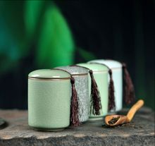 Latas de té Caddy Cerámica Tanque de Almacenamiento de Alimentos Contenedor Mini Portátil Para Los Granos de Café(China (Mainland))