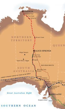The Ghan Train route map, Australia. This is the number one train journey on my bucket list!