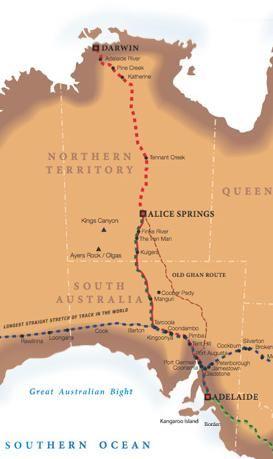 Ghan Train Route - Australia
