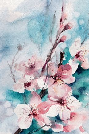 Almond Blossoms fine art print, flowers watercolour painting, watercolor print, floral wall art, turquoise pink wall art botanical print