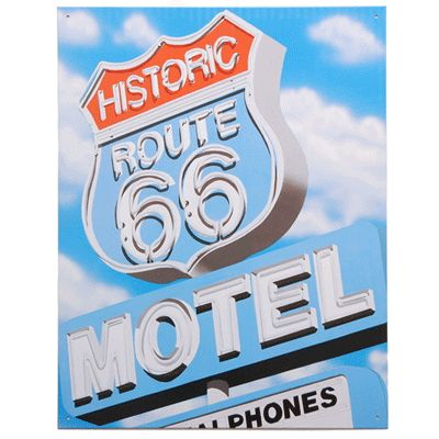 De metalen plaat geeft een afbeelding weer uit de fifties van het route 66 motel. U kunt de metalen wand plaat aan de muur bevestigen. Formaat: ongeveer 32 x 41 cm.