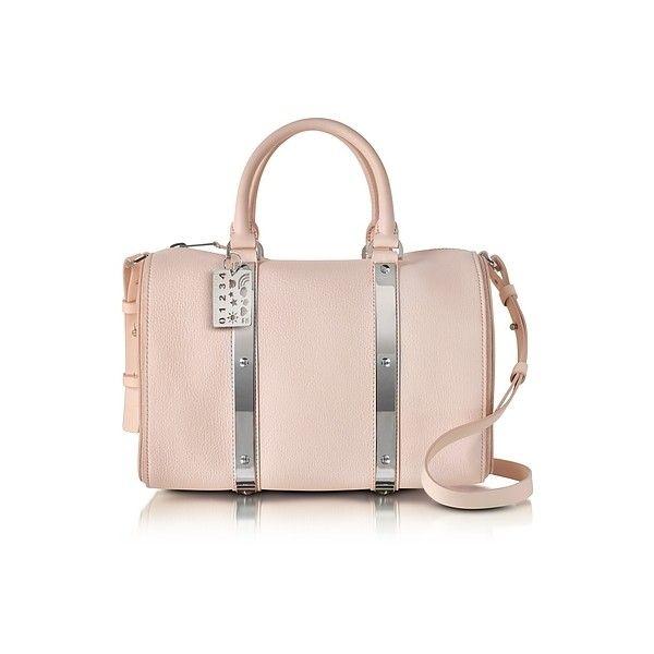 Sophie Hulme Handbags Blossom Pink Charlton Leather Medium Bowling Bag ($550) ❤ liked on Polyvore featuring bags, handbags, powder pink, leather handbags, bowling bags, hand bags, genuine leather purse and pink handbags