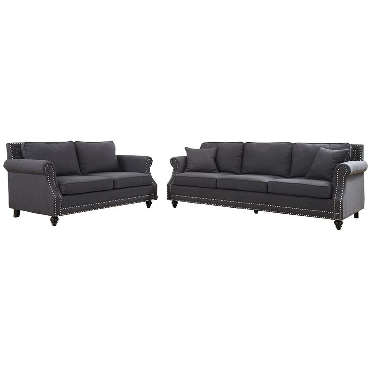 TOV Furniture Camden Grey Linen Living Room Set TOV 63802 Grey LS