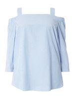Womens DP Curve Plus Size Blue Stripe Cold Shoulder Top- Blue