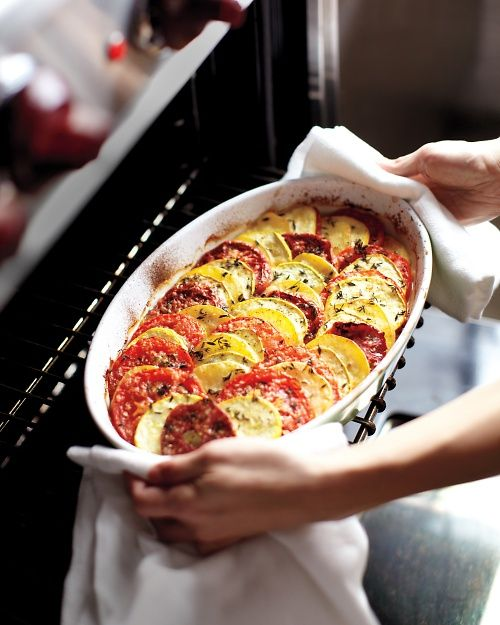 Baked Tomatoes, Squash, and Potatoes - Whole Living Eat Well: Side Dishes, Dinners Party, Potatoes Recipe, Food, Baking Tomatoes, Eating, Summer Squashes, Veggies, Yukon Gold Potatoes