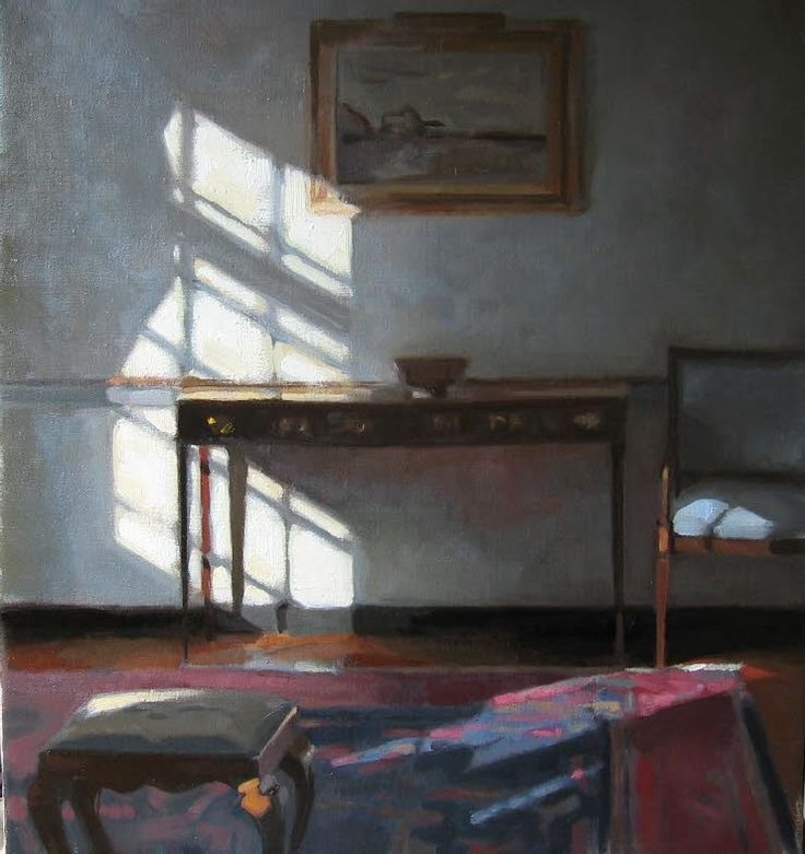 "Living Room, sunlit 14"" x 12"" oil on linen 2006; Peter Van Dyck"