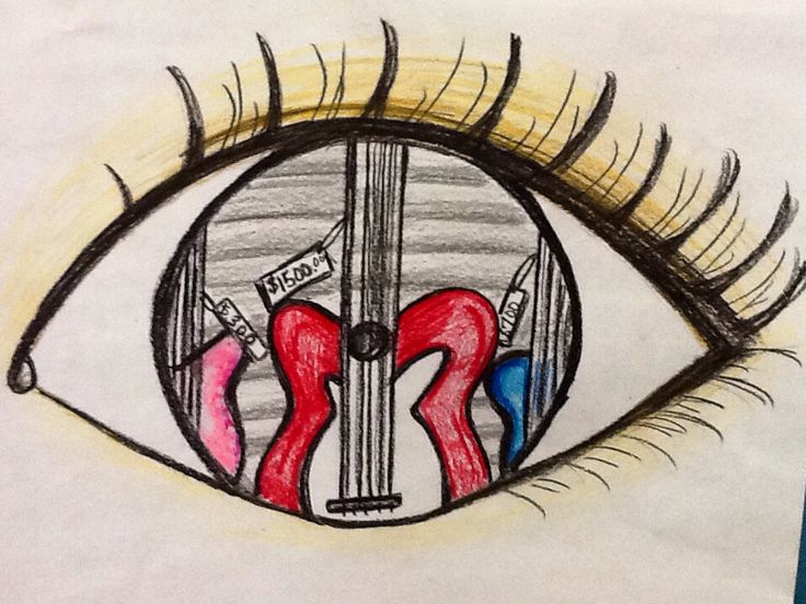 I drew this eye reflection using sharpies, color pencils and crayons for my elementary students as an example. Guitars for sale.