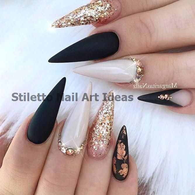 28 Fearless Combinations With Black Stiletto Nails…