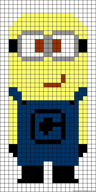 MInion Despicable me perler bead pattern - would work as a cross stitch pattern too