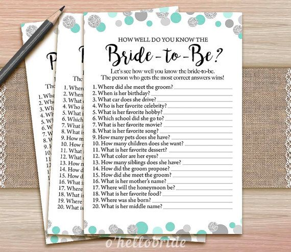 Polka Dot Mint Bridal Shower How Well Do You Know by ohellobride
