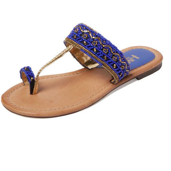 MIA Heritage India Beaded Toe-Loop Sandal ($39) ❤ liked on Polyvore featuring shoes, sandals, purple, synthetic leather shoes, woven leather shoes, toe loop sandals, beaded sandals and leather sandals