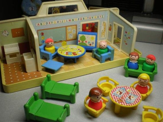 Rare Vintage 1970's Fisher Price Little People Nursery and Accessories