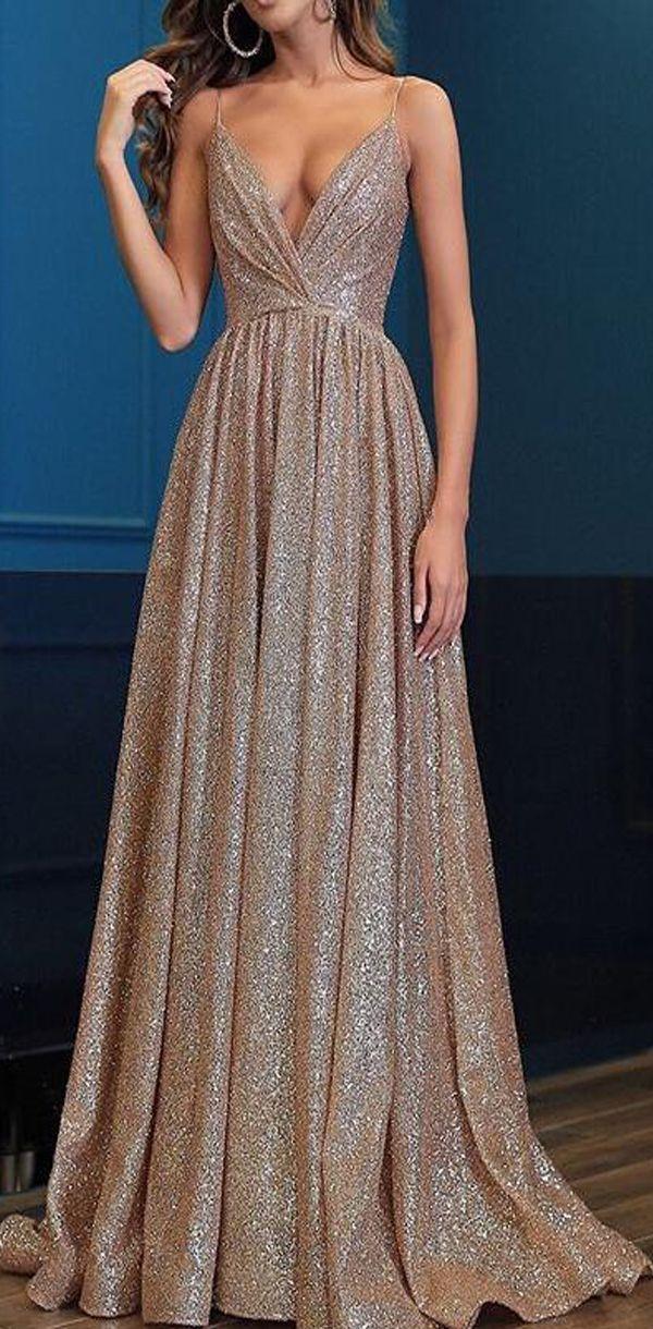 Spaghetti-Trägern mit V-Ausschnitt Fairy Sparkly Sequin Modest Ballkleider, langer Abend