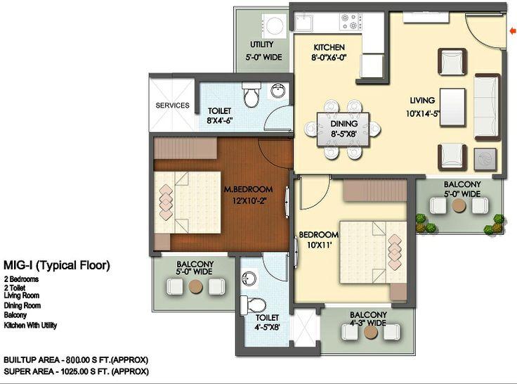 Floor Plan- 1075 sqft :2 Bhk+2 Bath+3 Balconies