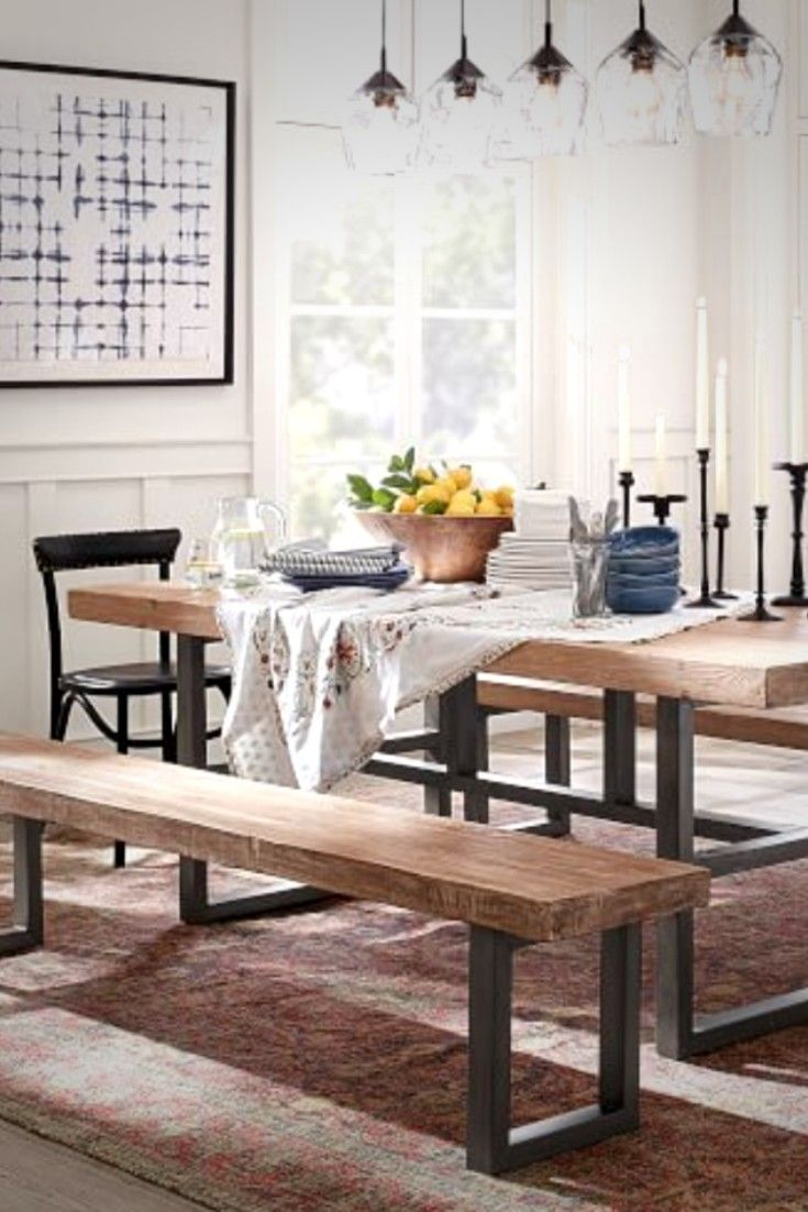 Rustic Industrial Kitchen Dining Room Wooden Iron Bench Bench