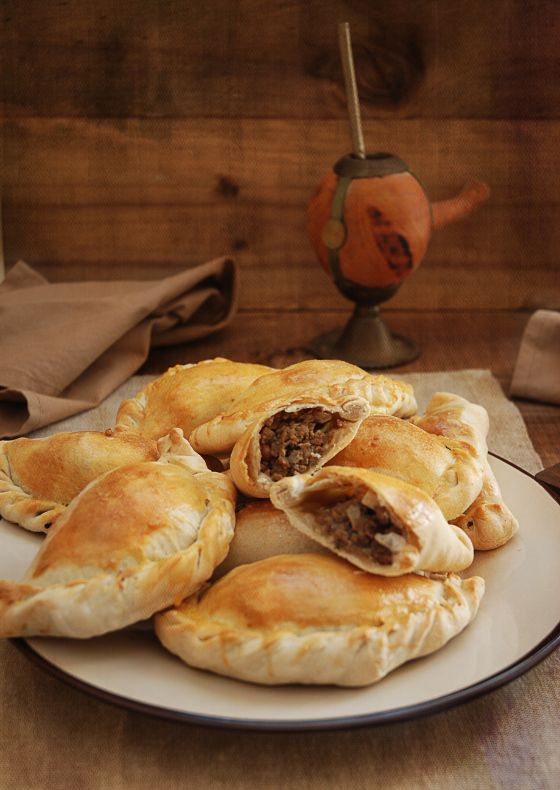 Empanadas argentinas- an ex's mom made these...golden raisins, green olives...sweet & savory and delish!