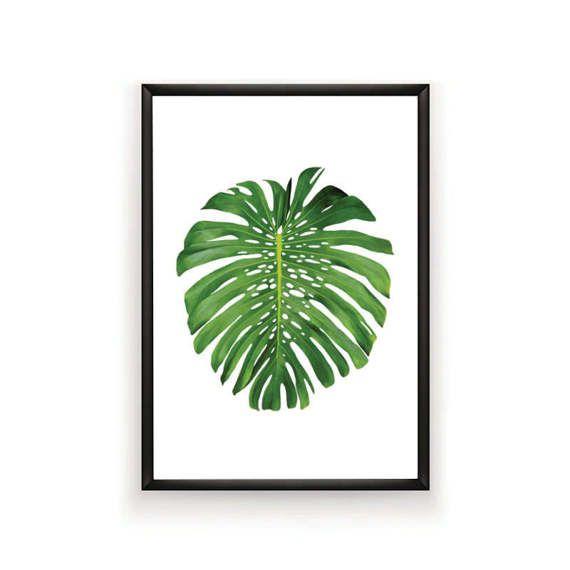 Monstera Leaf Print Printable Tropical Palm by SingleWavePrints