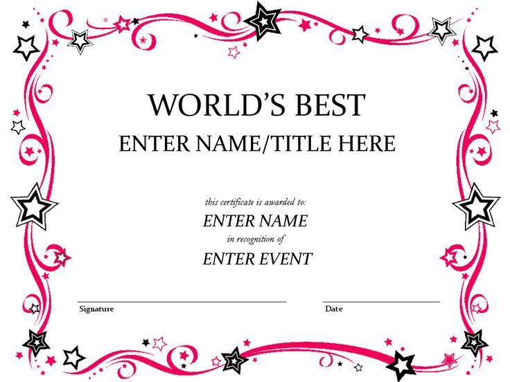 122 best Certificates images on Pinterest Printable certificates - certificate template doc
