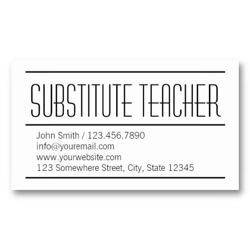 12 best teaching business cards images on pinterest business cards modern simple substitute teacher business card colourmoves