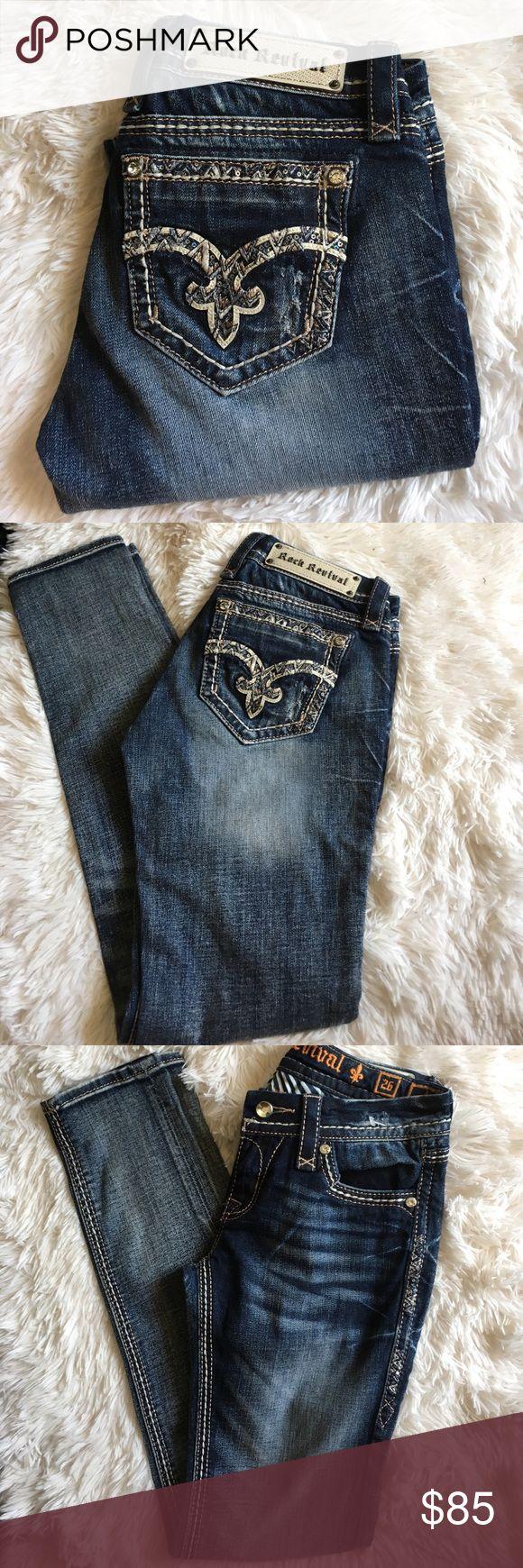 ❤️️New Rock Revival Denim Jeans❤️ New Rock Revival denim jeans, July,Cuffed Skinny❤️️ inseam 31 ( without cuff) Rock Revival Jeans Skinny