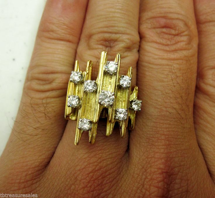 18k Large Diamond Vintage Antique Cluster Yellow Gold Ring 18.3g