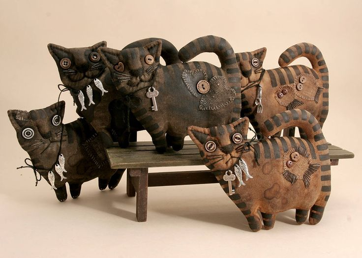 Primitive Cat Lover Gift Folk Art Textile doll Primitive decor
