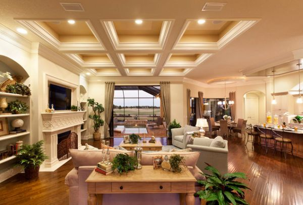 Elegant ceiling and warm lighting gives this living space an immaculate appearance 33 Stunning Ceiling Design Ideas to Spice Up Your Home
